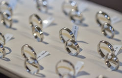Blurry and or out of focus wedding rings background Royalty Free Stock Image