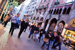 Blurry People at The Istiklal Street and St. Anthony of Padua Church Stock Photos