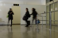 Blurry person walking stock images