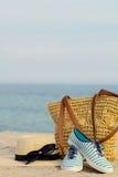 Blurry photo - sea concept. Relax on the beach. Selective focus Stock Photos