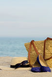 Blurry photo - sea concept. Relax on the beach. Selective focus Royalty Free Stock Photography