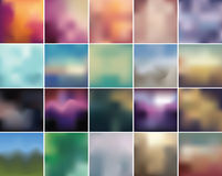 Blurry retro backdrop collection. Complete set of retro color blurry abstract backgrounds Stock Photo