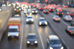 Blurry road with vehicles Stock Photos