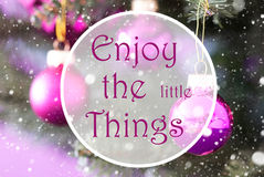 Blurry Rose Quartz Christmas Balls, Quote Enjoy The Little Things Royalty Free Stock Images
