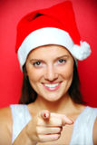 Blurry Santa's helper pointing at you Stock Photography