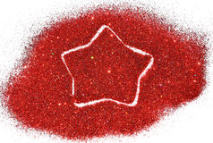 Blurry star of red glitter sparkle on white Stock Photo