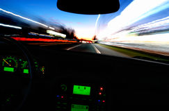 Blurry Street Lights from Inside a Speeding Car Royalty Free Stock Image