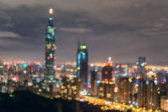Blurry Taipei Night Cityscape. Taiwan. Stock Photography