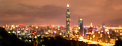 Blurry Taipei Night Cityscape. Taiwan. Background. Royalty Free Stock Images