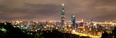Blurry Taipei Night Cityscape. Taiwan. Background. Panorama Photo. Royalty Free Stock Images