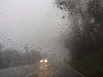Blurry view of countryside road bad weather. stock image