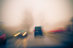 Blurry view road going cars Stock Images