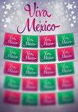 Blurry Viva mexico poster - mexican paper decoration - copy space Stock Photos