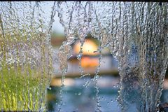 Blurry Water fall in garden,abstract background stock image