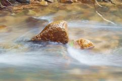 Blurry water flowing on the rock and wave splashing in river. Blurry water flowing on the rock and wave splashing in the river royalty free stock photo