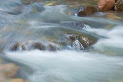 Blurry water flowing on the rock and wave splashing in river. Blurry water flowing on the rock and wave splashing in the river stock photos