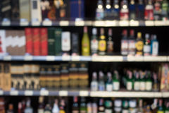 Blurry wine store. In Supermarket Stock Photo