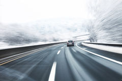 Blurry Winter High Speed Driving Royalty Free Stock Images