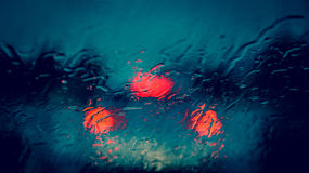 Blurry world. Windshield of my car in the rain Stock Photos