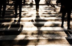 Blurry zebra crossing with pedestrians walking shadows royalty free stock photography