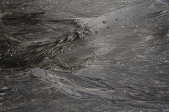 Blury, Movement, Ripples in shallow water over a Black sand Beach Stock Photos
