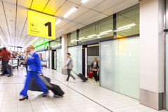 Blury passenger or tourist at the arrival terminal 1 Royalty Free Stock Images