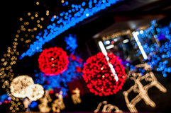 Blury red and white light balls. With with and blue lights in backround Stock Photo