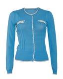 Blusa azul isolada no branco foto de stock