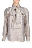 Blusa dorata di seta isolata sopra bianco Immagine Stock