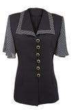 Blusa elegante preta com colar e as luvas pontilhados Imagens de Stock Royalty Free