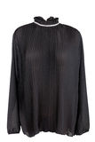 Blusa plisada negro Imagen de archivo