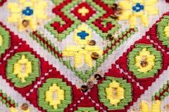 Blusa tradicional rumana - texturas y adornos tradicionales Fotografía de archivo