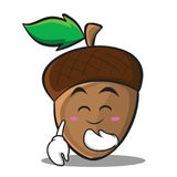 Blush acorn cartoon character style Royalty Free Stock Image