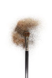 Blush brush with blush on it, loose powder and glitter blush, isolated on white backgrownd. Stock Photo