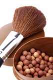 Blush and brush for makeup. On white background Stock Photography