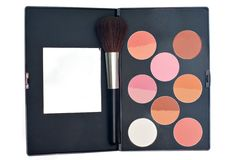 Blush and brush for makeup Royalty Free Stock Photo