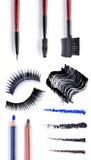 Blush on brush. Set of Scratch lipstick, blush on, powder and make up cosmetics collection Stock Photo