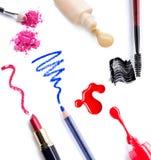 Blush on brush. Set of Scratch lipstick, blush on, powder and make up cosmetics collection Stock Photos