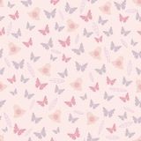 Blush Butterfly Flowers Leaves and Bells Spring Tea Party Seamless Pattern vector illustration