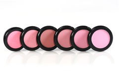 Blush Colors in Black Circular Containers. New Unused Blush Colors in Black Circular Containers Royalty Free Stock Images