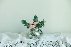 Blush flowers of carnation in a bowl Royalty Free Stock Image