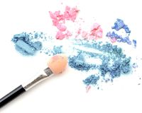 Blush make up and crushed color eye shadow. Blush make up and crushed color eye shadow stock photography