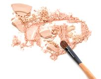 Blush make up and powder crushed on white Royalty Free Stock Image