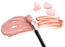 Blush with make up powder foundation on white background. Blush with make up powder foundation on white background royalty free stock photos