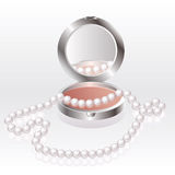 Blush with pearl necklace Stock Photos