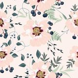 Blush pink bouquets on the apricot background. Seamless pattern with delicate flowers. Dahlia, peony, fern, berries and herbs. Romantic garden illustration stock illustration