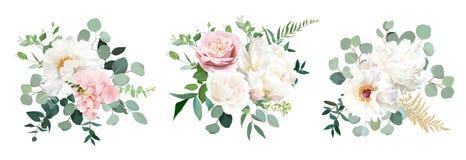 Free Blush Pink Rose And Sage Greenery, Ivory Peony, Hydrangea, Ranunculus Flowers Stock Photo - 181408370