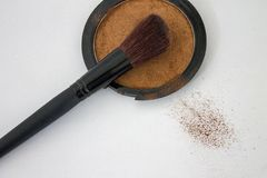 Blush powder and make up brush. For beauty and luxury royalty free stock images