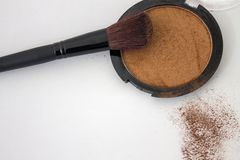 Blush powder and make up brush. For beauty and luxury stock images