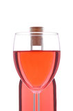 Blush or Rose Wineglass and Bottle Royalty Free Stock Photo